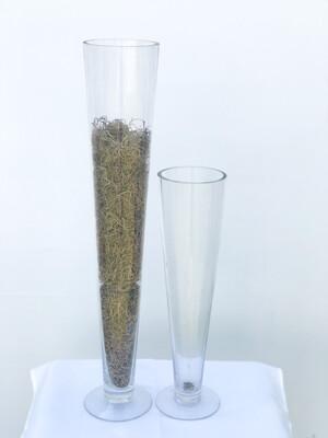 "Oversized Champagne Flute Glass Vase 24"" Tall"