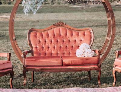 Martha- Rose Antique Settee
