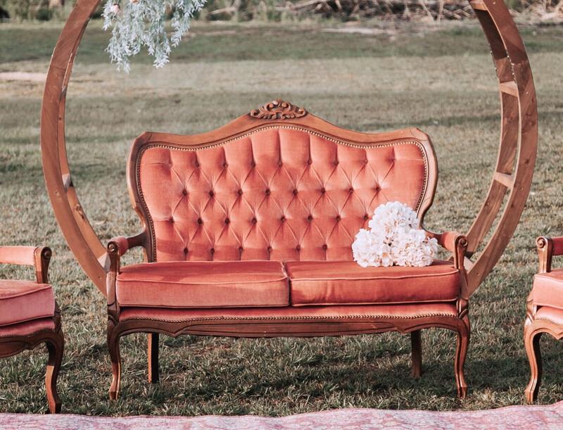 Martha- Rose Antique Settee