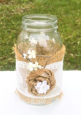 "7"" Mason Jar with Burlap Flower"