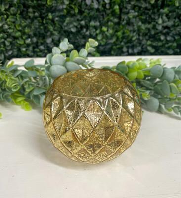 Gold Crackled Candle Holder