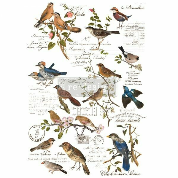 NEW! Prima Decor Transfer: Postal Birds