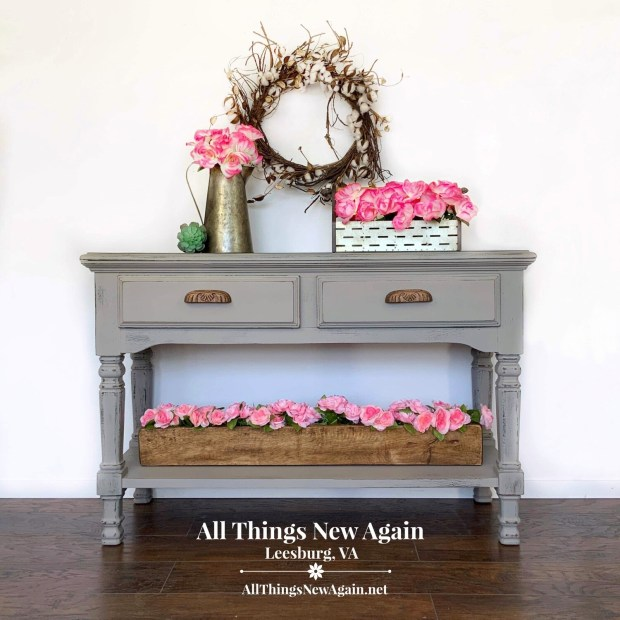 FURNITURE: Country Farmhouse Gray Sofa Table