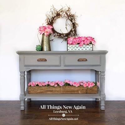 FURNITURE: Country Farmhouse Gray Sofa Table