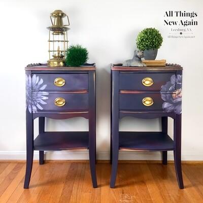 FURNITURE: Purple Boho Nightstands/ Side Tables