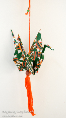 Origami Ornament for Car or Christmas Tree - Green, Orange