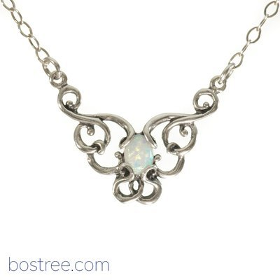Victorian Necklace - Sterling Silver & White Opal