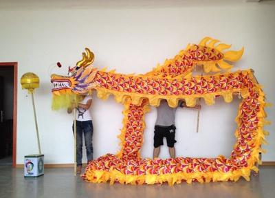 Dragon Chino Amarillo y Dorado hecho a mano original Grande