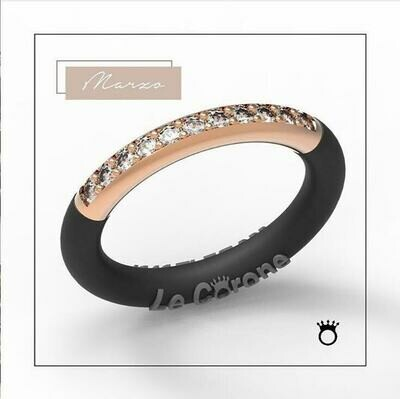 925 silver, rose gold plated, Forever RING LE CORONE, Cubic Zirconia stone, adjustable silicone band,