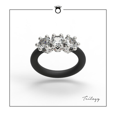 Women's Rings Le Corone, TRILOGY, white CZ stones, adjustable silicone band, 925 sterling silver