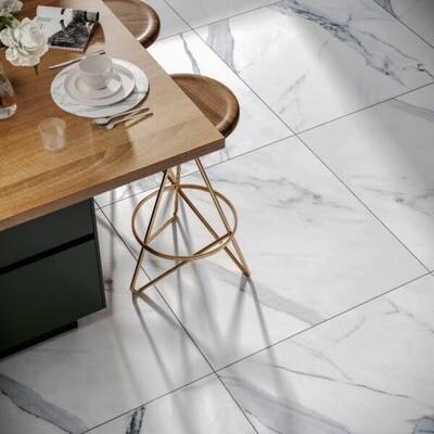 Calacatta White Gloss Porcelain Tiles 60 x 60 cm