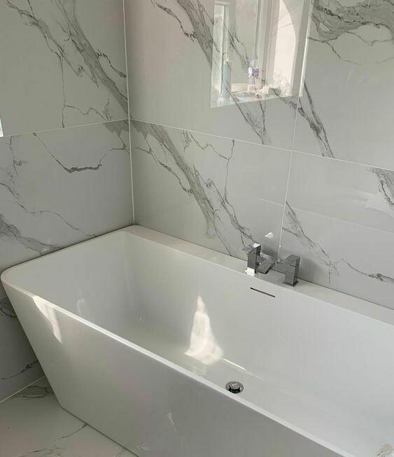White Gloss Marble Porcelain Tiles 120 x 60 cm
