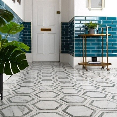 Hexagon Porcelain Feature Tiles 33 x 28 cm