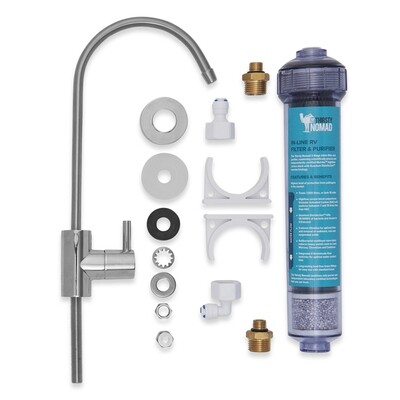 """16mm Pex, or 12mm or ¼"""" Complete RV Water Purifying Filter Kit"""