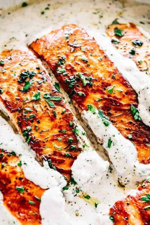 Warming: Salmon and Penne Alfredo