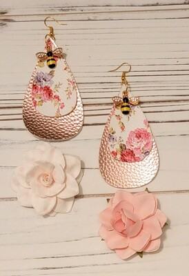 Shabby Chic Floral & Bee Earrings