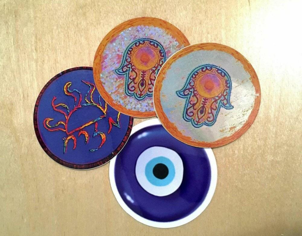 Jewish Amulet Sticker Bundle - Hamsa, Mizrach, Nazar (Evil Eye Ward)