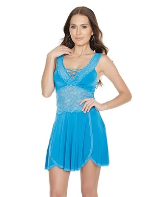 Scallop Stretch Lace & Microfiber Soft Cup Design Babydoll & Thong