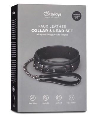 Easy Toys Fetish Collar W/leash - Black