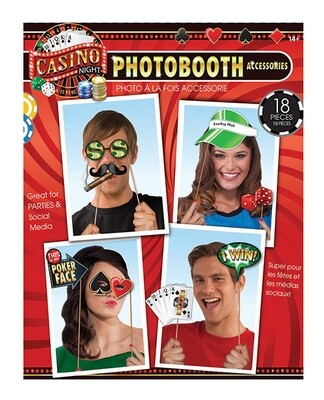 Casino Photo Booth Prop Kit - Set Of 18 Pc