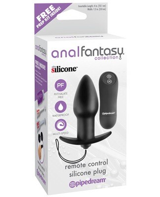 Anal Fantasy Collection Remote Control Silicone Plug - Black
