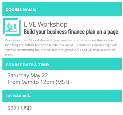 May 22 Workshop: Build your business finance plan-on-a-page