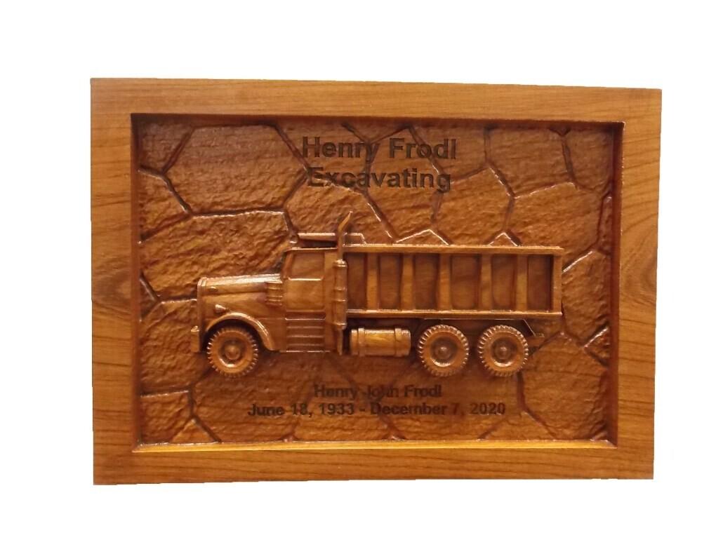 Dump Truck Custom Business Sign Wood Carving