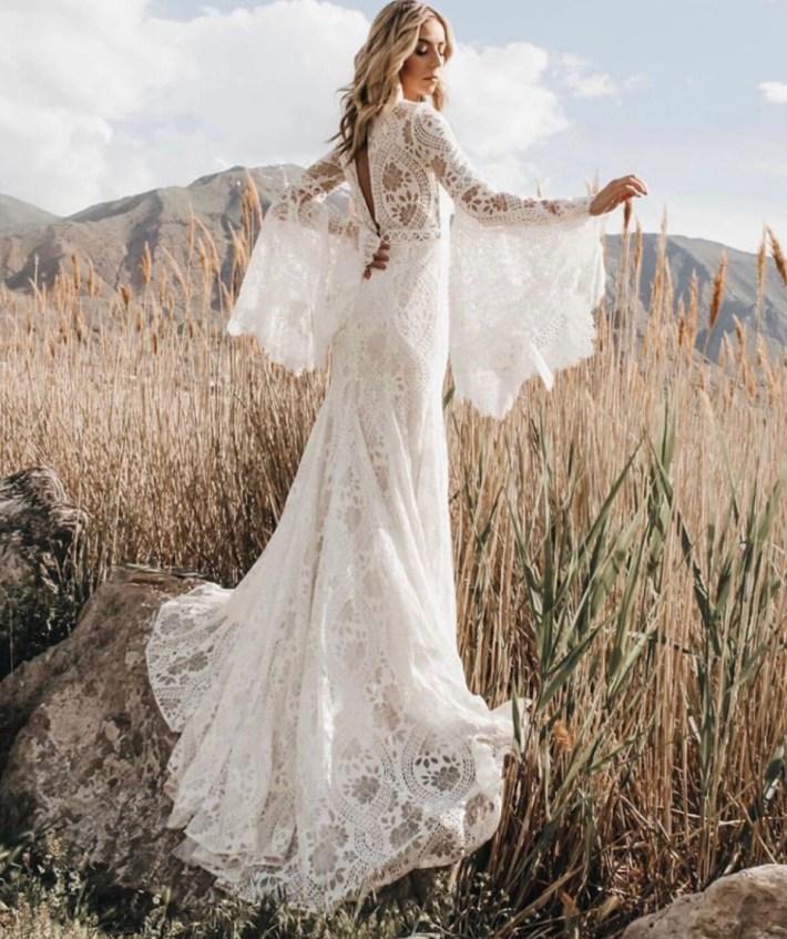 Boho Bohemian Weddingdress Wedding Dreamdress Gown Lace Romantic Vintage Custom made to your size