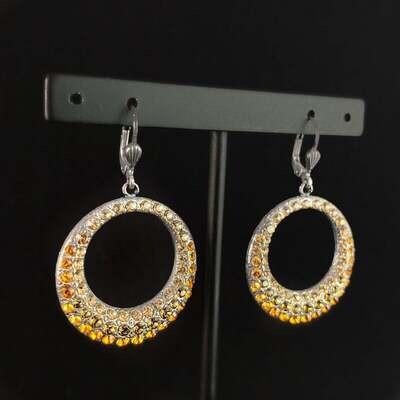 Round Swarovski Crystal Earrings, Yellow/Orange - La Vie Parisienne by Catherine Popesco