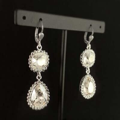 Pear Cut Swarovski Crystal Teardrop Earrings, Clear - La Vie Parisienne by Catherine Popesco