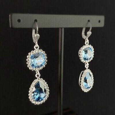 Pear Cut Swarovski Crystal Teardrop Earrings, Light Blue - La Vie Parisienne by Catherine Popesco