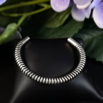 Rook and Crow Handmade Silver Textured Skinny Cuff Bracelet