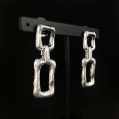 Silver Rectangle Earrings, Handmade