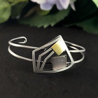 Lightweight Handmade Geometric Aluminum Bracelet, Silver and Purple