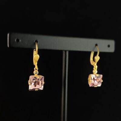 Square Cut Swarovski Crystal Drop Earrings, Pink/Purple - La Vie Parisienne by Catherine Popesco