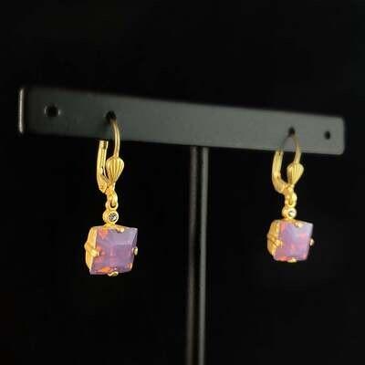 Square Cut Swarovski Crystal Drop Earrings, Milky Purple - La Vie Parisienne by Catherine Popesco