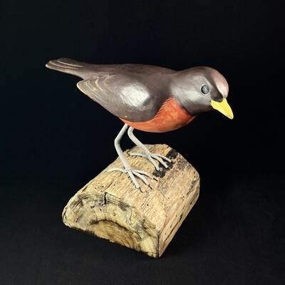 Handmade, Hand-painted Wooden Robin