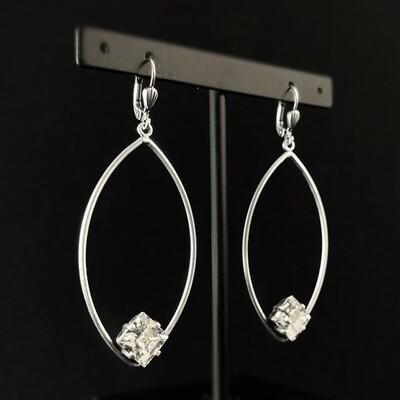 Square Cut Swarovski Crystal Earrings, Clear - La Vie Parisienne by Catherine Popesco