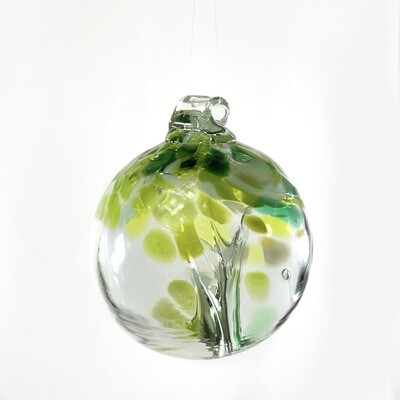 "Handmade Glass Art 2"" Globe Ornament - Tree of  Wellbeing"