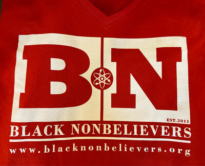 BN Logo Women's V-Neck T-shirt - Red (with White Ink) - New!
