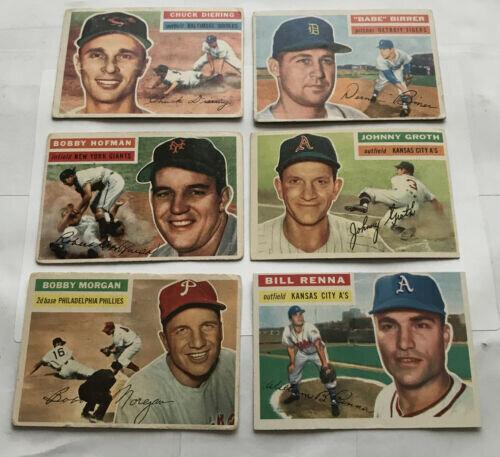 6 Card Lot Of 1956 Topps Baseball Singles