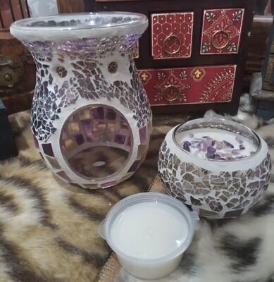 Kaleidoscope wax burner and candle gift set
