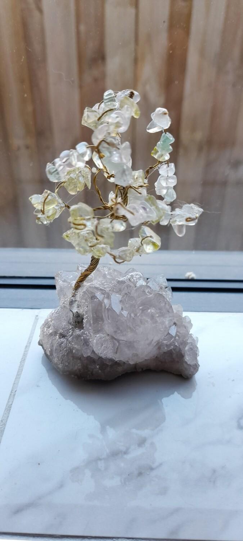 Bonsai tree of life on quartz crystal