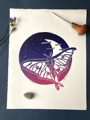luna moth lino print