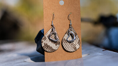 Python Earrings with Silver Hearts