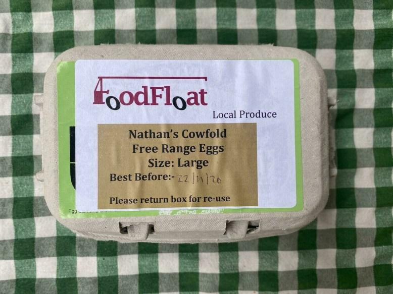 Eggs large: box of six free-range hen eggs. Nathan's or Simon's.