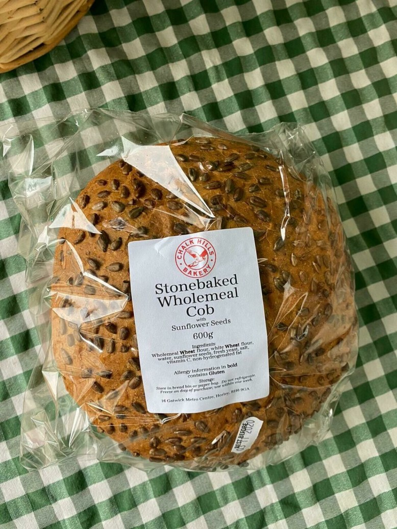 Bread: Wholemeal Cobb, with seeds. Chalk Hills Bakery.