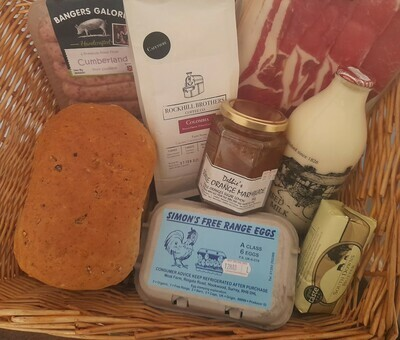 All-local Mother's Day Breakfast Box: bringing together produce from eight local producers. Granary farmhouse, butter, coffee, milk, marmalade, eggs, sausages and bacon.