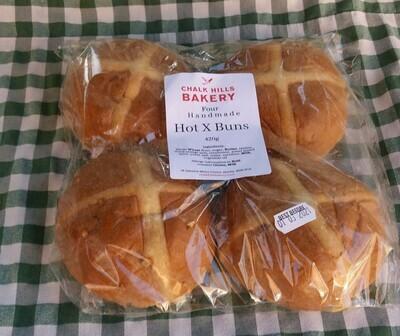 Hot cross buns: pack of four. Chalk Hills Bakery.