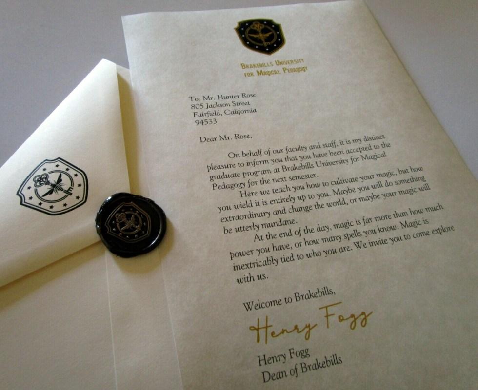 Magicians Brakebills Acceptance Letter